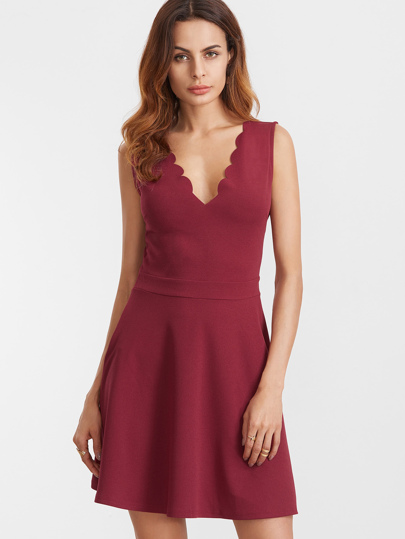 Scalloped V Neck Sleeveless Flare Dress