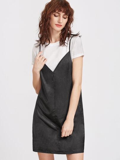 Contrast 2 In 1 Cami Dress