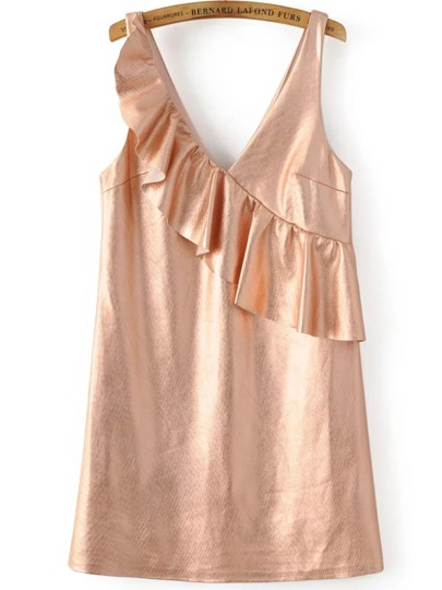 Vestido escote V con volantes sin mangas - rosa dorado