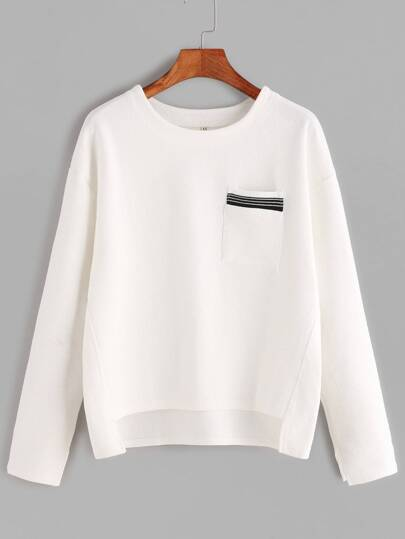 T-shirt mit Streifen Saum Tasche Vorne Kurz Hinten Lang-weiß