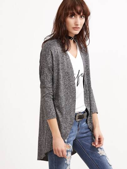 Grey Marled Knit Curved Hem Open Front Coat