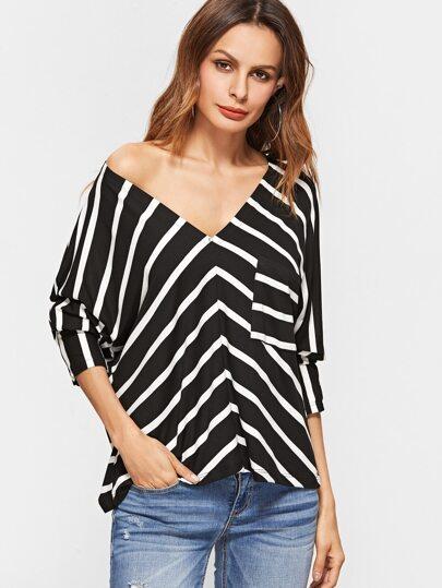 Black Contrast Striped V Neck T-shirt With Pocket