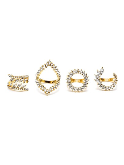 Gold Plated Crystal Inlaid Ring Set