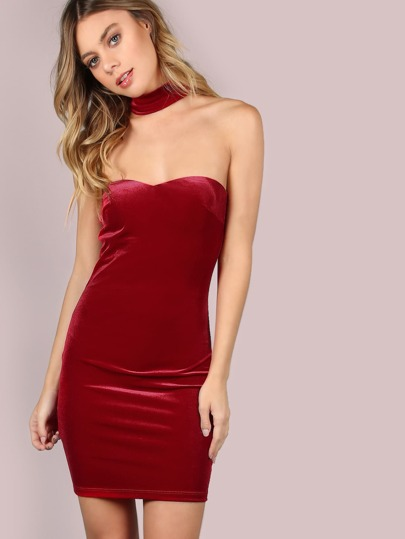 Strapless Choker Velvet Mini Dress RED