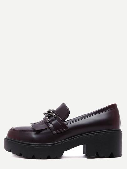 Burgundy Fringe Chain Embellished Flatform Shoes