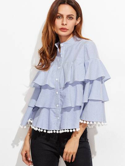 Blue And White Striped Pom Pom Trim Layered Ruffle Blouse