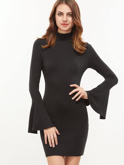 Black High Neck Ruffle Sleeve Bodycon Dress