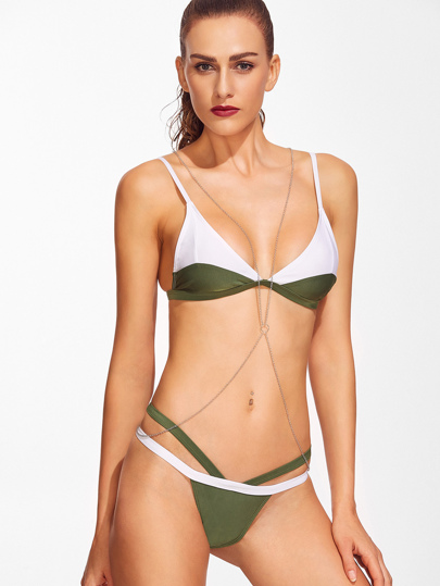 Color Block Triangle Bikini Set