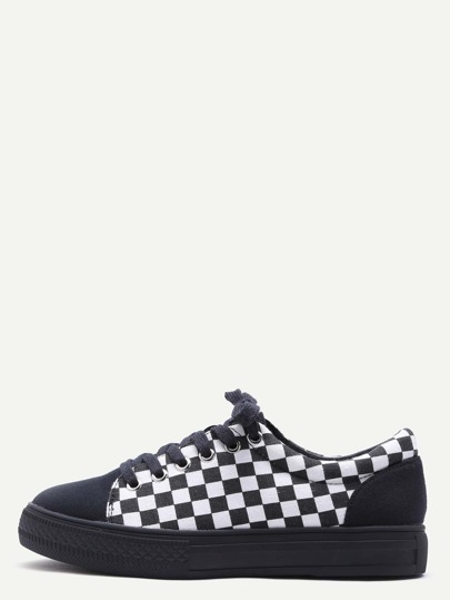 Black Damier Design Rubber Sole Low Top Sneakers