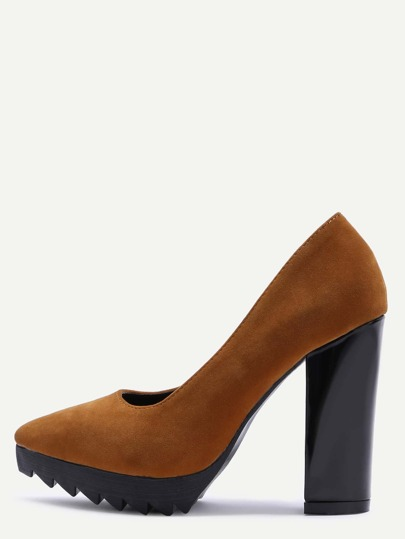 Brown Suede Point Toe Block Heel Pumps
