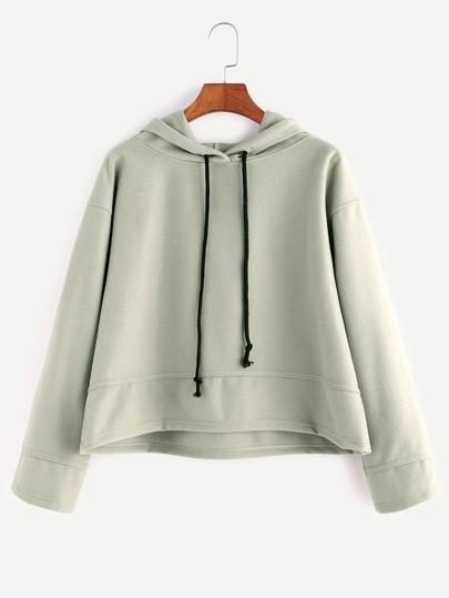 Pale Green Hooded Drop Shoulder Dip Hem Sweatshirt