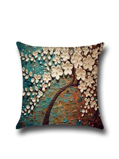 Plum Modern Oil Painting Cushion Cover
