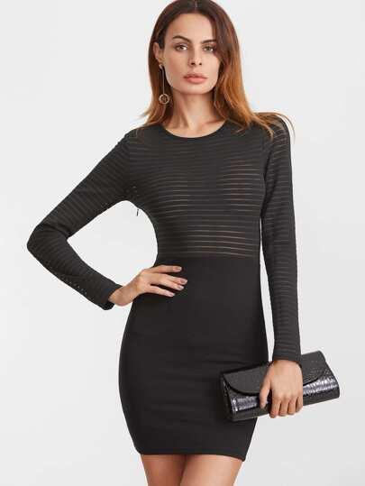 Black Striped Mesh Top Bodycon Dress