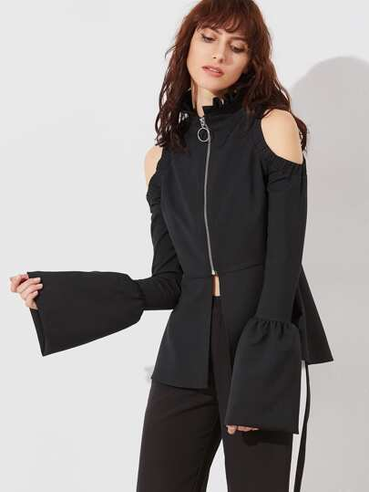 Black Ruffle Collar Cold Shoulder Bell Cuff Zip Up Peplum Jacket