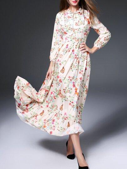 Aprikosen-Bindungs-mit Blumen-Maxi Kleid