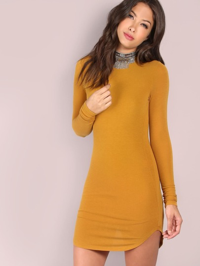 Yellow Long Sleeve Curved Hem Bodycon Dress