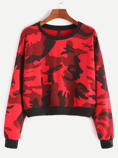 Contrast Ribbed Trim Crop Camo Sweatshirt