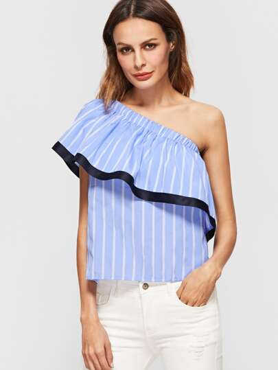 Striped Contrast Trim One Shoulder Ruffle Top