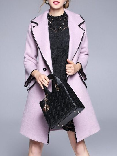Pink Lapel Bell Sleeve Pockets Coat