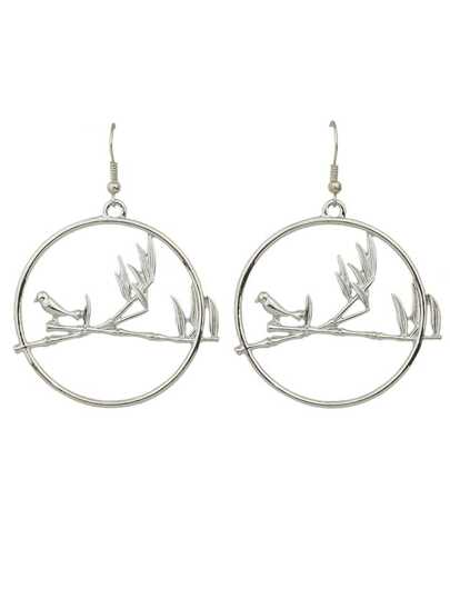 Silver Color Big Round Bird Drop Earrings