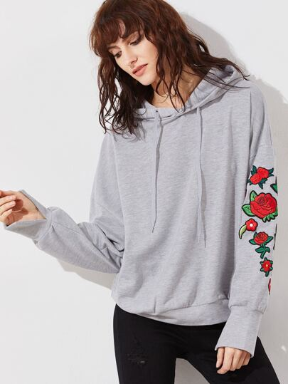Heather Grey Embroidered Rose Applique Dolman Sleeve Hoodie