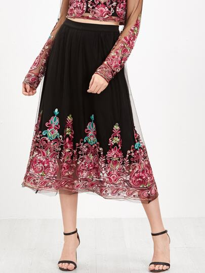 Black Embroidered Mesh Overlay Midi Skirt