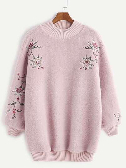 Pink Ribbed Trim Flower Embroidered Fuzzy Sweatshirt