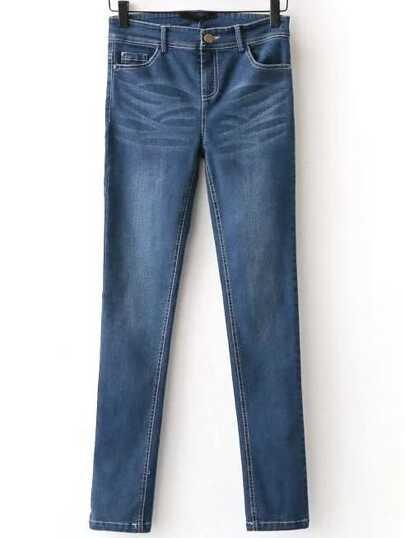 Jeans Stretti Con Bottone - Blu
