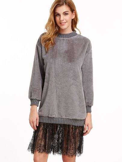 Contrast Lace 2 In 1 Faux Fur Sweatshirt Dress