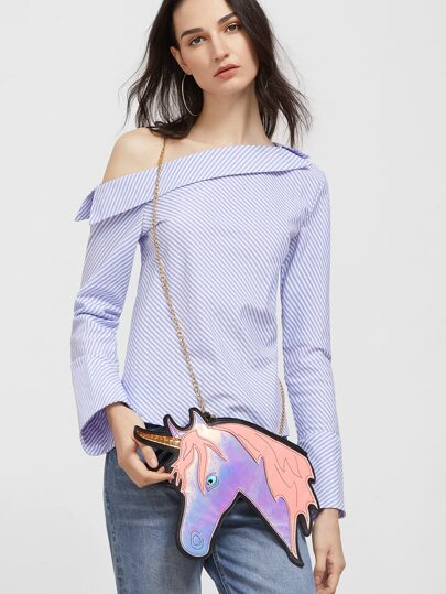 Krossbody Ketten Tasche PU Leder Unicorn Form-rosa