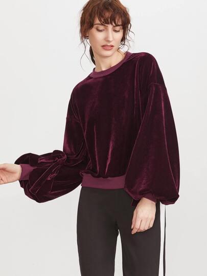 Burgundy Drop Shoulder Tied Bishop Sleeve Velvet Sweatshirt