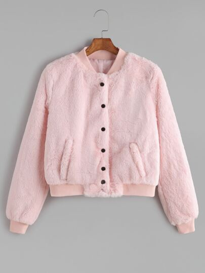 Pink Ribbed Trim Single Breasted Fluffy Jacket