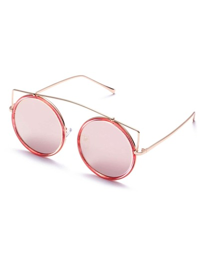 Rose Gold Plated Round Sunglasses With Pink Lens