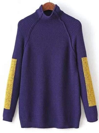 Blue Color Block Mock Neck Raglan Sleeve Sweater
