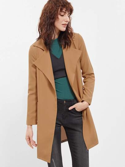 Khaki Notch Collar Pocket Front Duster Coat