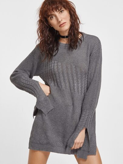 Dark Grey Slit Side Cable Knit Sweater