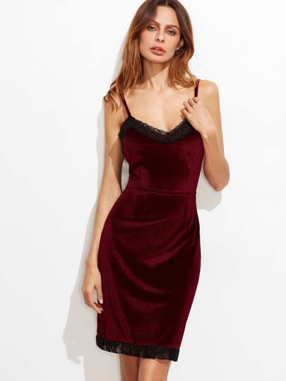 Burgundy Contrast Lace Velvet Slip Dress