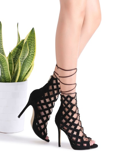Noir Hollow Out Design Lace Up Stiletto Sandales