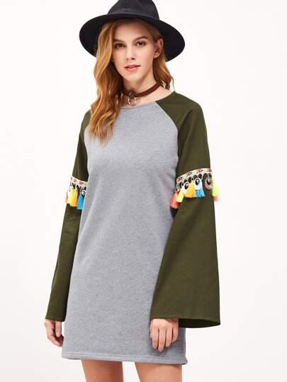 Heather Grey Tassel Trim Contrast Bell Sleeve Tee Dress