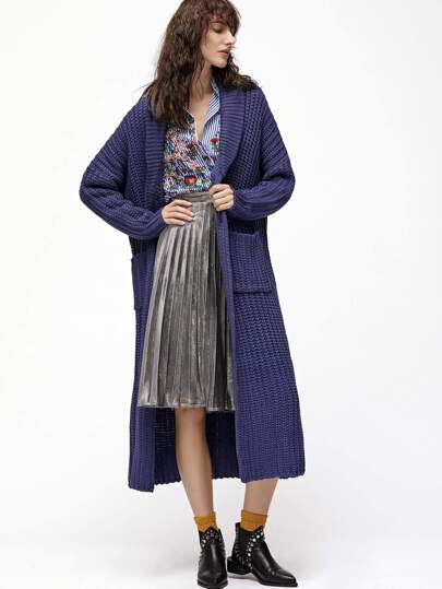 Purple Shawl Collar Longline Sweater Coat