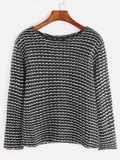 Black And White Long Sleeve Slub Sweater