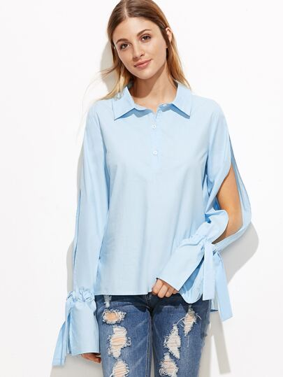 Blue Button Front Split Sleeve Drawstring Cuff Blouse