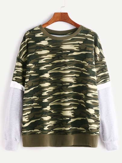 Olive Green Camo Print Contrast Layered Sleeve Sweatshirt