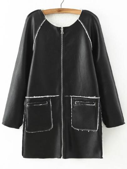 Black Seam Reversible Zipper PU Coat