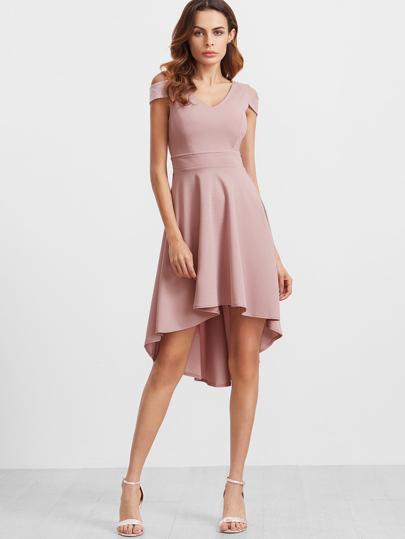 Kleid mit Tiefem V-Ausschnitt Cut-Outs am Schulter Vorne Kurz Hinten Lang-rosa