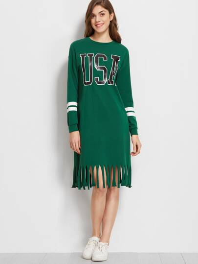 Green Varsity Print Raw Fringe Hem Sweatshirt Dress
