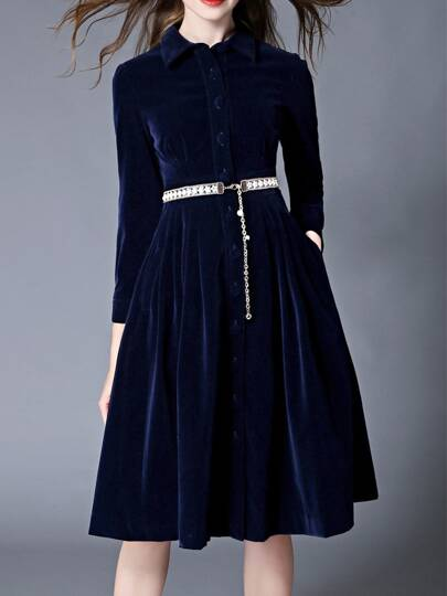 Blue Velvet Belted Pockets Dress