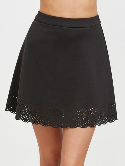 Black Scalloped Laser Cutout A Line Skirt