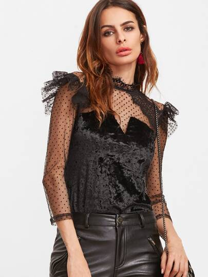 Ruffle Trim Dotted Mesh Shoulder Velvet Top