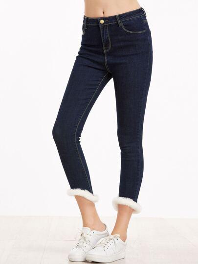 Dark Blue Contrast Faux Fur Dip Hem Jeans